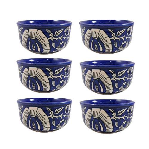 India Meets India Thanksgiving Handicraft Ceramic Dessert Serving Bowls Set of 6 Side Dishes Ice Cream, 100 ML. Best Gifting Made by Awarded Indian Artisan
