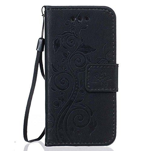 Rabat Style Portefeuille iPhone SE Coque ( Rouge ) Anti Choc, Housse Etui Apple iPhone 5 5S 5G Carte Titulaire PU Cuir Poids léger Case, Élégant Floral Fleur Embossage Motif Noir