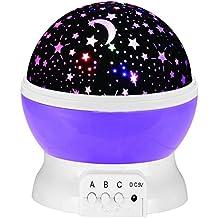 NATIOALMATER 360 Grados de Rotación Proyector de Estrellas, 3 Modos de Romántica Lámpara Nocturna, Estrella Noche Lámpara, Luz Nocturna Dormitorio para Bébe, Niños, Regalos para Navidad y Amantes (Púrpura)