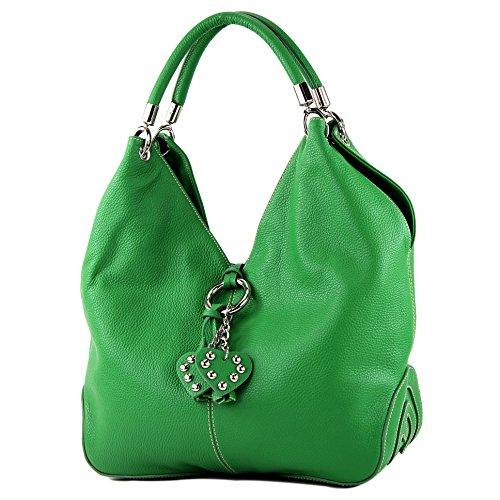 modamoda de - 330 - ital Handtasche Shopper Schultertasche Leder, Farbe:Grün -