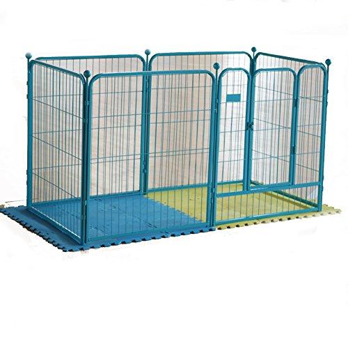 Klappbarer metall hundebox,Zaun,Haustier katze,Kunststoff barrier fence,Hund-käfig,Hundezaun haustiere hund kiste portable katze käfig kennel indoor Outdoor-haustier kiste -grün 142x71x80cm(56x28x31inch) (Metall-hasen Käfig)