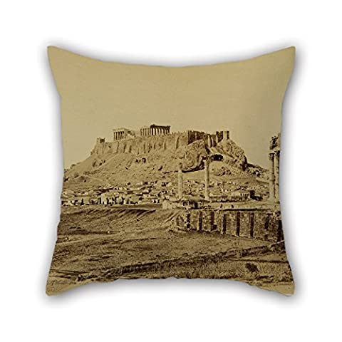 Loveloveu Oil Painting Constantinou Dimitrios - The Temple Of Olympian Zeus And The Acropolis In The Background Cushion Covers ,best For Teens,divan,dance Room,coffee House,deck Chair 20 X 20