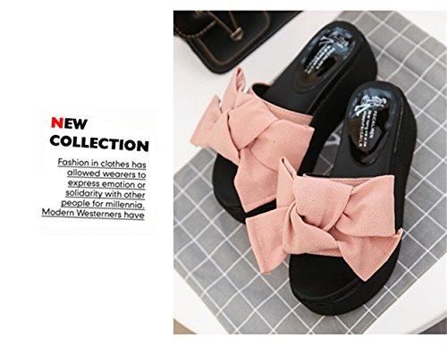 Donna Estate Casuale Piattaforma Sandali Moda Pantofole Scarpe Spiaggia Sandals 6cm Nero Verde Rosa Rosso 35-39 Rosa