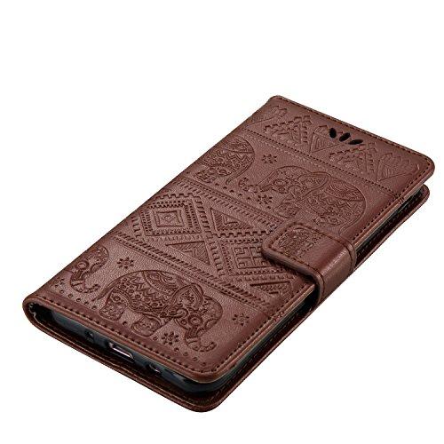 Für Samsung Galaxy J3 Prime Premium Leder Schutzhülle, weiche PU / TPU geprägte Textur Horizontale Flip Stand Case Cover mit Lanyard & Card Cash Holder ( Color : Brown ) Brown
