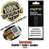 Authentique Résistances Aspire Nautilus BVC Coil(Paquet de 5) Pour Réservoirs Nautilus, Nautilus Mini,Triton mini & Nautilus 2,Zelos 50W Kit Complet(0,7ohm)