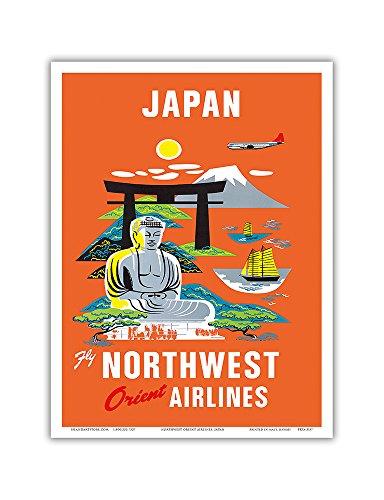 Pacifica Island Art Japan-Fliegen Nordwesten Orientieren Fluggesellschaften NWA-Mt. Fuji Buddha-Vintage Airline Travel Poster c.1950s-Master Kunstdruck 9