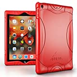 Armera iPad 9.7 Zoll 2018 2017 Hülle - [Welle Stoßstange Serie] Leichte Rutschfeste Stoßfeste Silikon Schutzhülle Tasche Case Cover für Apple iPad 9,7'' 2018/2017 Modell, Rot