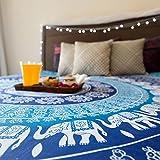 Folkulture Blue Elephant Double Bed Mand...