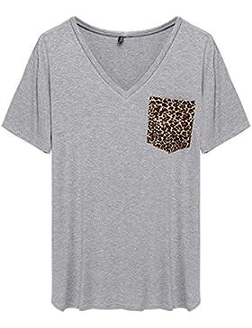 ACEVOG Camiseta top de bolsillo con estampado de leopardo, manga corta y cuello pico para mujer