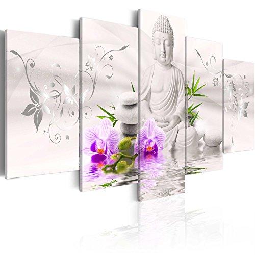 murando - Cuadro en Lienzo 200x100 cm - Buda - Abstraccion - Impresion en calidad fotografica - Cuadro en lienzo tejido-no tejido - flores hoja violeta rosado rojo b-A-0020-b-n