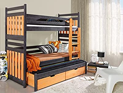 Triple BUNK BED Sambor Brand New Modern High Bed DRAWERS Ladder 3 Children TRUNDLE Bed Pine Wood Various Colours 2 sizes