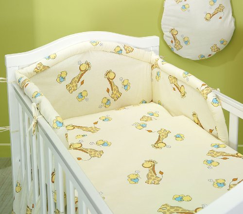 BlueberryShop 2 Piece Baby Cot Duvet and Pillow Covers Bedding Set, 120 cm Length x 90 cm Width, Cream Giraffe