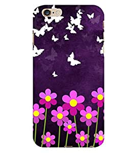 HiFi Designer Phone Back Case Cover Apple iPhone 6 :: Apple iPhone6 ( Purple Butterfly and Flowers )