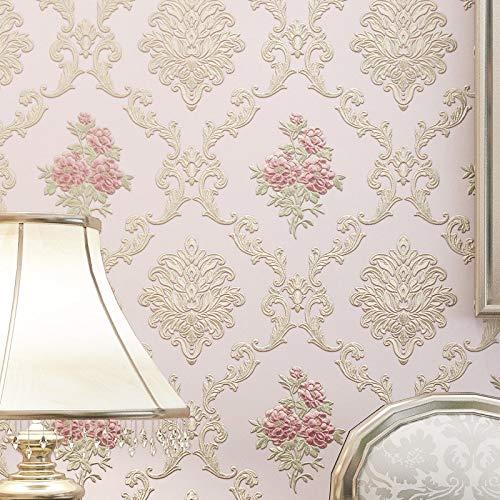 Kirsch-marmor (Vlies einfache moderne Tapete 3D dreidimensionale Luxus Hintergrundbild Hell-Pink 53x1000cm)