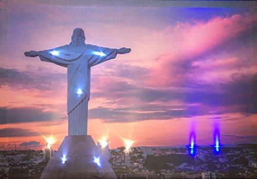 LED-Bild mit Beleuchtung LED- Bilder Leinwandbild 65 x 45 cm Leuchtbild JESUS CHRISTUS Wandbild Samarkand-Lights