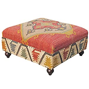 Homescapes Upholstered Ottoman Pouffe End Table or Footstool with Legs Kilim Red Handmade Solid Wood Frame with Traditional Hand woven Wool Rug Cover