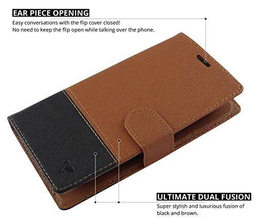 Ceego Wallet Flip Cover for Intex Aqua Ring – [Credit Card Slots & Wallet] [Ultimate Value for Money] – EcoGo Series Aqua Ring Flip Case (Brown / Black)