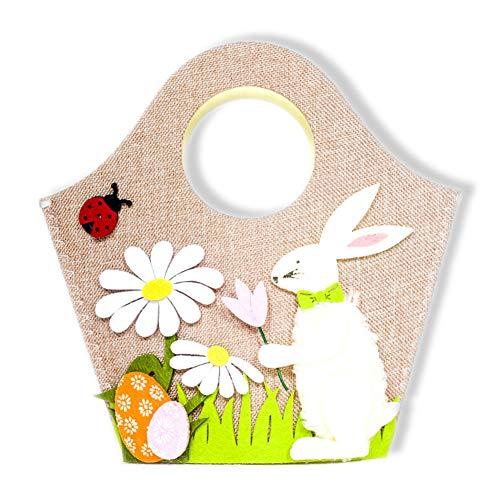 WERTAZ Handtasche Kaninchen Nette Osterhase Ei Korb lagerung Spielzeug Partei liefert wohnkultur Blume Dekoration süßigkeiten Kinder ()