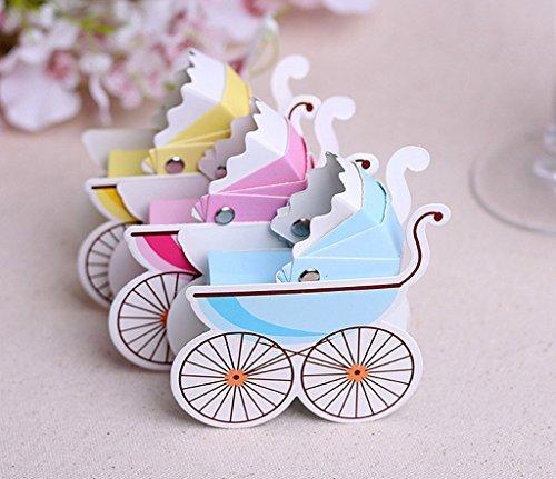 üßigkeiten Geschenk Boxen Baby Dusche Kinderwagen Gastgeschenken Form (blau) ()