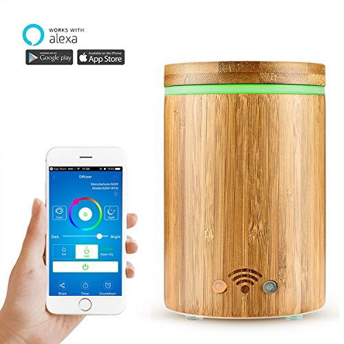 Random 320ml Wifi Smart Aroma Diffuser Funktioniert mit Amazon Alexa Bambus Ultraschall Luftbefeuchter Ätherischesöl Aroma Diffusor mit 7 Farbigen LED Lichter und Schaltet Sich Automatisch Aus