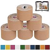 BB Sport 6 Rollos Cinta Kinesiología Tape 5 m x 5 cm Cinta Muscular E- Book Ejemplos Aplicación, Color:beis