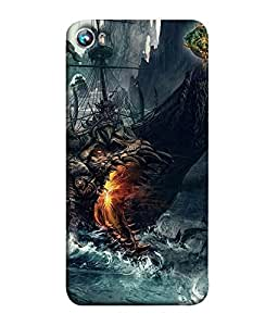 Nextgen Designer Mobile Skin for Micromax Canvas Fire 4 A107 (Piarte Rough Sea Dragon Fire Sea)