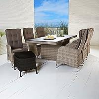 La Casa Di Caesar Polyrattan Tischgruppe Rabida Turin Natur Tisch 6 Stühle  Gartenmöbel Set