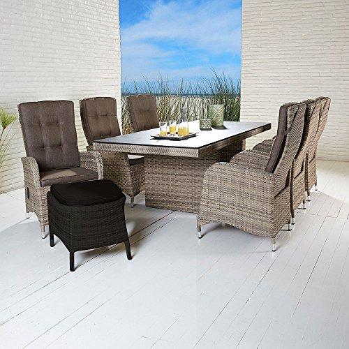 La Casa di Caesar Polyrattan Tischgruppe Turin Natur Tisch 6 Stühle Gartenmöbel-Set