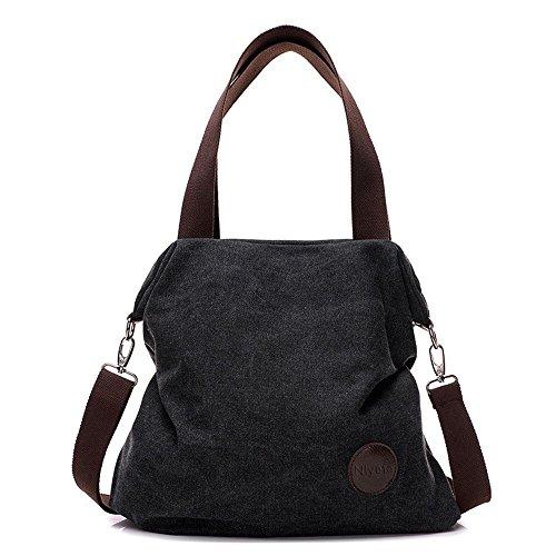 Nlyefa DamenHandtascheCanvasTasche, SchultertascheUmhängetasche 41cm*10cm*38cm, Schwarz (Canvas Damen Tasche)