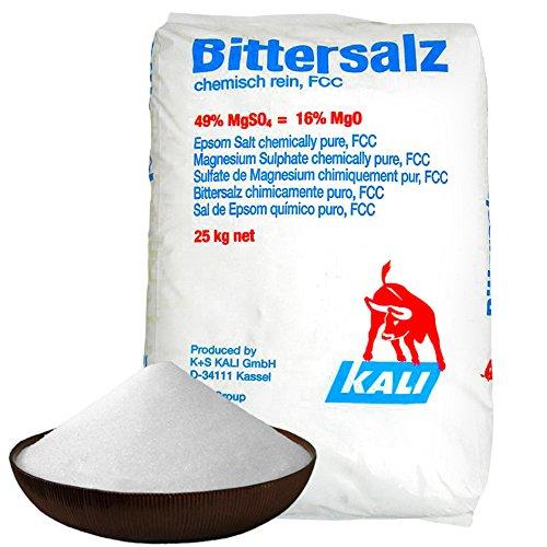 Elixir Gardens ® Natural Epsom Salts – Food Grade (FCC) – Great for baths! (25kg (Full Sack))
