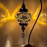 Handgefertigte Mosaik-Tischlampe, atemberaubender marokkanischer Stil, einzigartiger Globus Lampenschirm, Schwanenhals Serie, Größe L