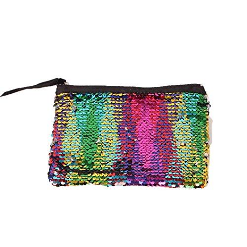 BZLine® Frauen Casual Multicolor Farbe Pailletten Handtasche Tasche Clutch Bag Mehrfarbig