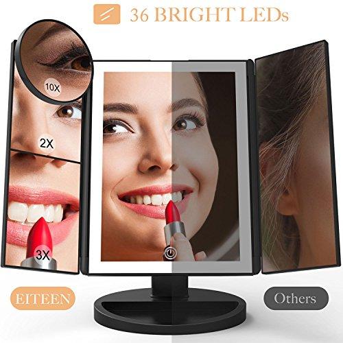 Schminkspiegel mit licht und Vergrößerung, verbesserter 36 LEDs Schminkspiegel mit 10X 3X 2X 1X...