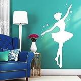 "Wandtattoo-Loft Stickers muraux ""Ballerine avec etoiles "" - Sticker mural BALLET DANSEUSE/49 Couleurs/4 tailles - orange pastel, 80 cm breit x 155 cm hoch"