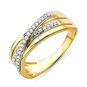 Miore 9ct Yellow Gold Triple Row Diamond Crossover Ring SA925R - Size M