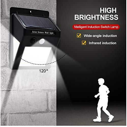 LED Solar Wandleuchte Bewegungsmelder wasserdicht Glühbirne Gartenleuchte Außenweg Sicherheit 3   Seiten leuchtend