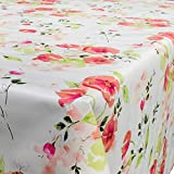 Tovaglia - Telo cerato per tavola, lavabile, motivo: fiori di papavero, Misura: a scelta, Plastica, Bunt, 200 x 140 cm