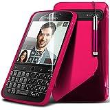 Aventus ( Hot Pink ) Blackberry Q20 Classic Hülle Abdeckung Cover Case schutzhülle Tasche Protective Elegant S zeichnen Wellen-Gel-Kasten-Haut-Abdeckung mit LCD-Display Schutzfolie, Poliertuch und Mini-versenkbaren Stift