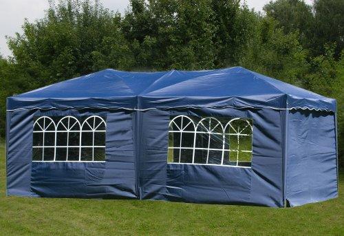 pavillon faltbar 3x6m blau inkl seiten faltpavillon partyzelt pavillion zelt sedifras. Black Bedroom Furniture Sets. Home Design Ideas