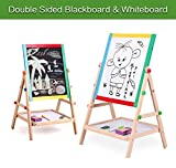 #5: Wooden Drawing Board-Double Sided Adjustable Kids Drawing Easel Board for Toddlers Children Learning