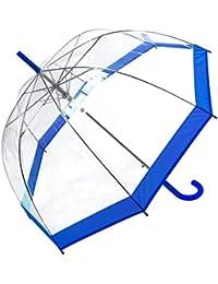 Susino Parapluie Droit ouverture automatique - Transparent Avec Bordure Bleue Paraguas clásico, 88 cm,