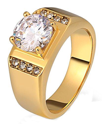 Gnzoe gioielli- anello da uomo in acciaio chirurgico 316l per ragazzo padre 8mm cubic zirconia anello uomo 4 claw oro taglia 27
