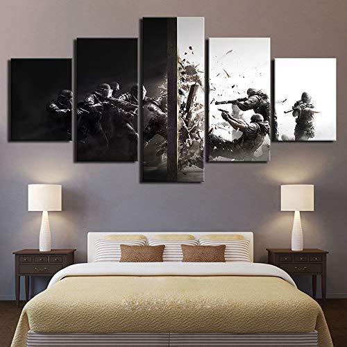 JSBVM Wandkunst Spielbild 5 Panel Rainbow Six Siege Segeltuch Malerei Kunstwerk HD-Drucke Wohnkultur Kinderzimmer,B,30×50×2+30×70×2+30×80×1