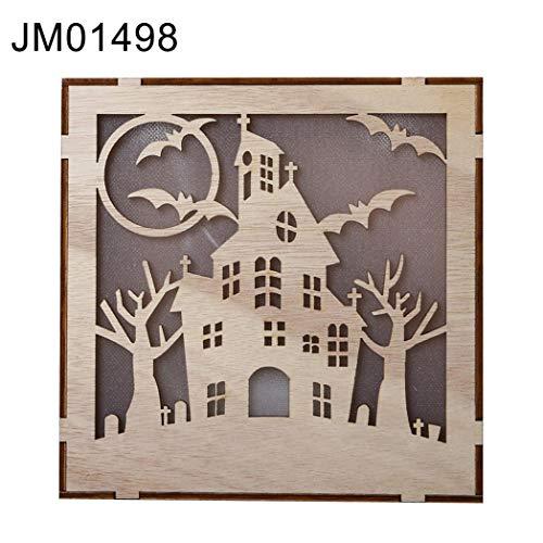 DeYL Halloween Dekoration Waldhexe Quadrat-Anhänger-Halloween-Kürbis-Nachtlicht-LED-Wand-Tischdekoration - Jm01498 -