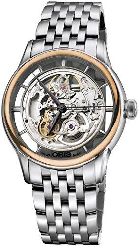 Oris Artelier Translucent Skeleton Automatic Steel & 18k Rose Gold Mens Watch 734-7684-6351-MB