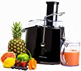 Andrew James Professional Whole Fruit Power Juicer Black 850W with Cleaning Brush and Jug