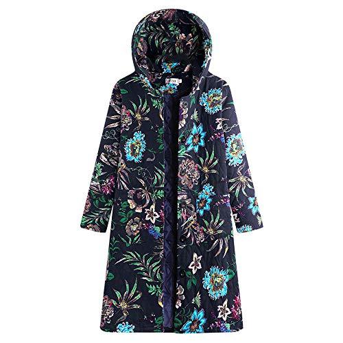 MIRRAY Damen Jahrgang Mantel mit Kapuze Langarm Floral Bedruckt Fleece Verdicken Langen Button Jacke Button - Bedruckte Fleece-jacke