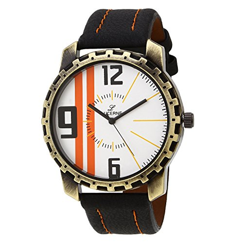 LUCERNE Analogue White Designer Printed Dial Black Leather Strap Casual Gifts Watch For Men A Modern Men Watch...