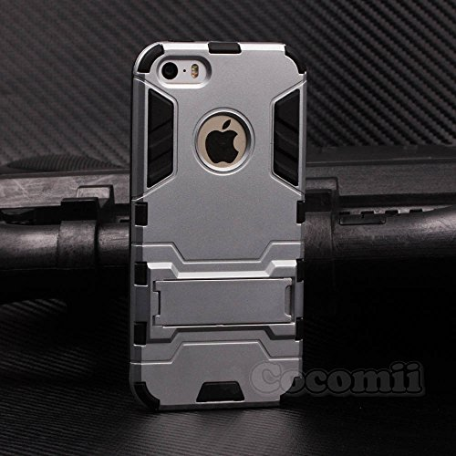 iPhone SE / 5S / 5C / 5 Hülle, Cocomii Iron Man Armor NEW [Heavy Duty] Premium Tactical Grip Kickstand Shockproof Hard Bumper Shell [Military Defender] Full Body Dual Layer Rugged Cover Case Schutzhülle Apple (Silver)