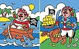 Reeves Malen nach Zahlen Junior 5+ Jahre,2-er Set, 20 x25cm, 7 Farben, Motiv - Piraten